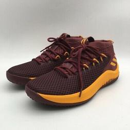 Adidas Mens Dame 4 Basketball Shoes Wine Mid Top Lace Up Sne