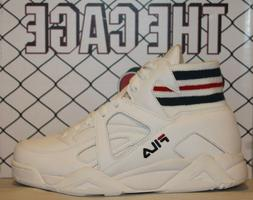 Mens Fila THE CAGE White Navy Red Mid High Top Retro Classic