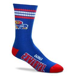 For Bare Feet NCAA 4 Stripe Deuce Crew Children  Socks-Kansa