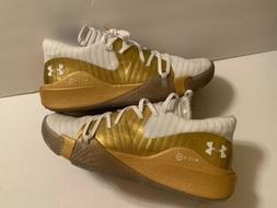 NEW UNDER ARMOUR Anatomix Spawn Gold White Basketball Shoes