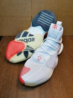 Adidas Originals Crazy BYW X Men's Sz 9 New White  Red Baske