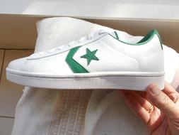 pro leather ox white and green shoes