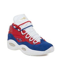 "Reebok Mens Question Mid ""Banner"" Red/Royal/White/Gold Metal"