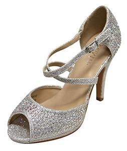 Bella Marie Shania-1 Women's Peep Toe Rhinestone Glitter Cro