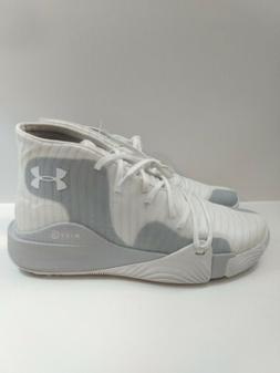 UNDER ARMOUR Spawn Mid White Grey Basketball Shoes Men's Siz