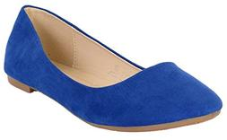 Bella Marie Womens Stacy-12 Suede Flats Royal Blue 6.5 B US