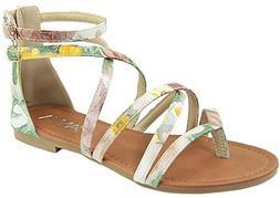 Anna Shoes Women's Strappy Buckle Accent Zip Heel Flat Sanda
