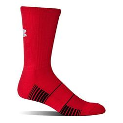 Under Armour Team Crew Socks, 1-Pair, Red/White, Shoe Size: