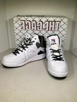 FILA The Cage Men's Size 10 White/Black/Gray High Top Bask