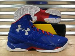 Under Armour UA Curry 2 Basketball Shoes Blue White Red USA