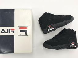 Vintage 1995 Boys FILA Grant Hill Nubuck Leather Black Baske