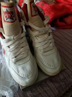 Vtg 1980's High Top Converse Cons Basketball Shoes White & R