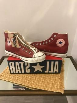 Vtg NOS Converse Chuck Taylors Red Leather Canvas Basketball