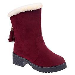 Mysky Winter Women Classic Slip-On Snow Boots Ladies Retro S