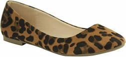 Bella Marie Women's Leopard Classic Pointy Toe Ballet Flat S