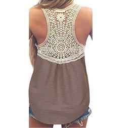 Womens Blouses Sale,KIKOY Summer Lace Vest Top Short Sleeve