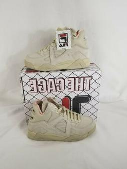 Fila Womens The Cage Beige Suede Basketball Shoes Sneakers